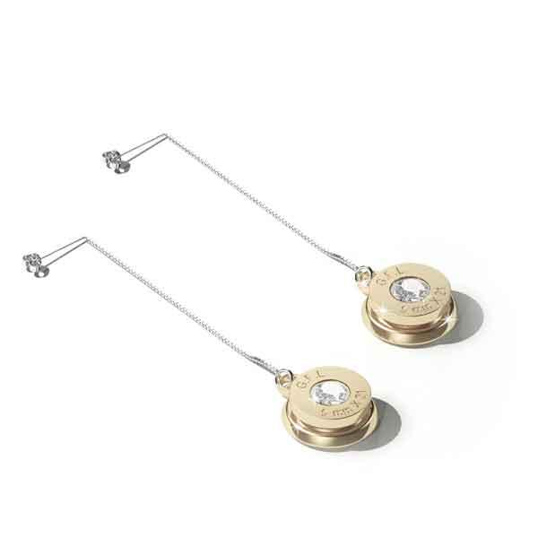 Orecchini pendenti con finitura oro 24kt, corpo in argento sterling e gemma neutra