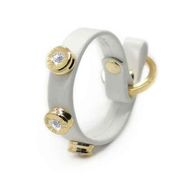 Bracciale in pelle bianco basic finitura oro con brillanti