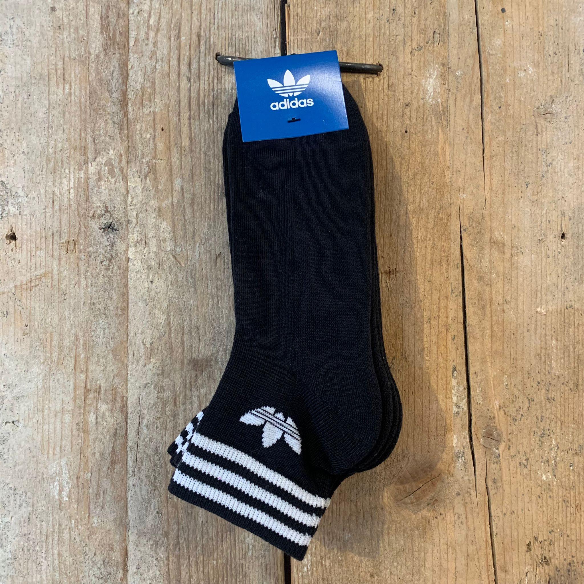 Calzini Adidas Trefoil Neri alla Caviglia con Strisce Bianche (3Pack)