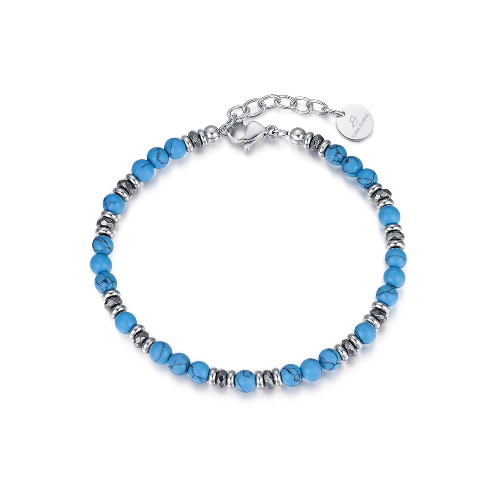 Luca Barra - Bracciale in acciaio con pietre azzurre ed amatite