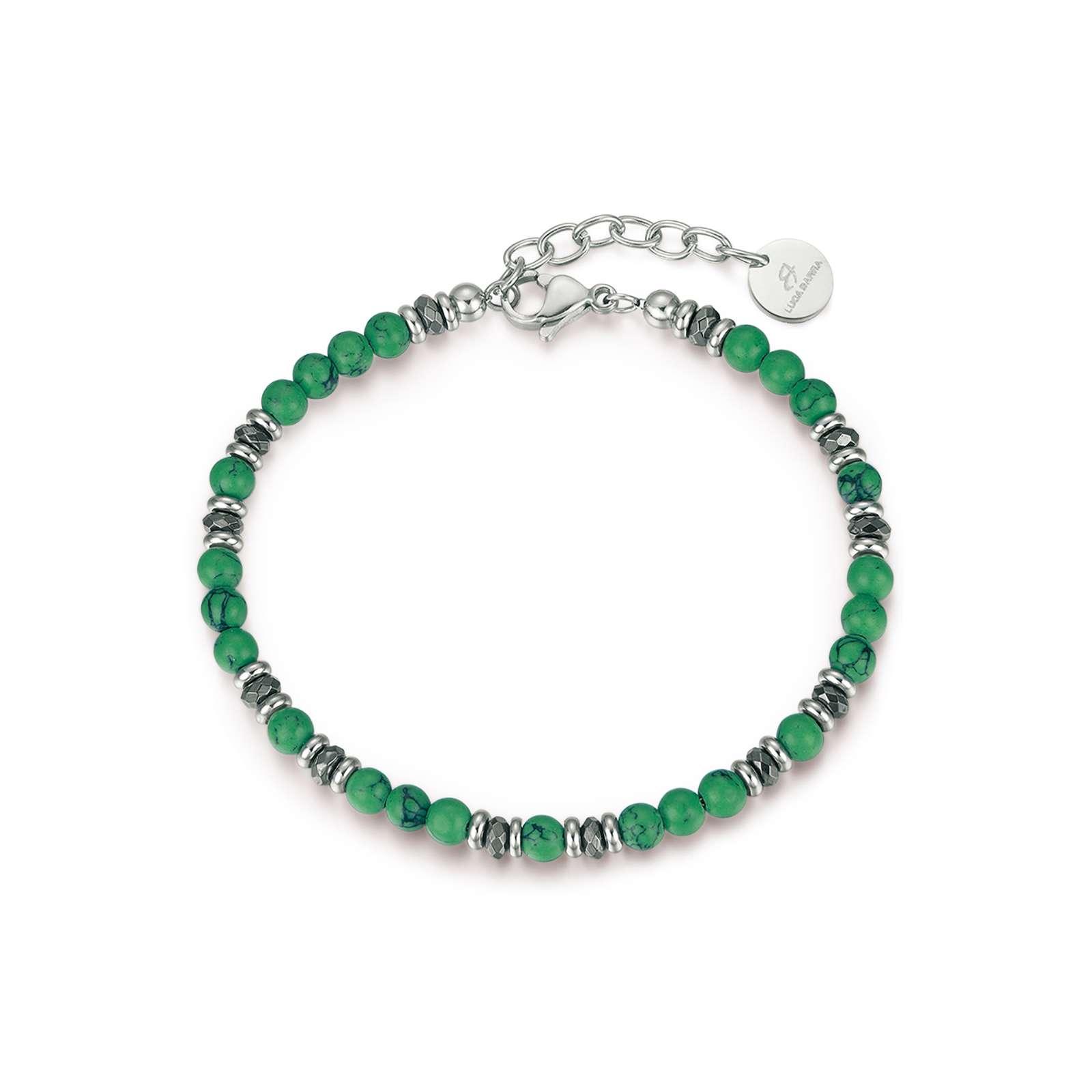 Luca Barra - Bracciale in acciaio con pietre verdi ed amatite