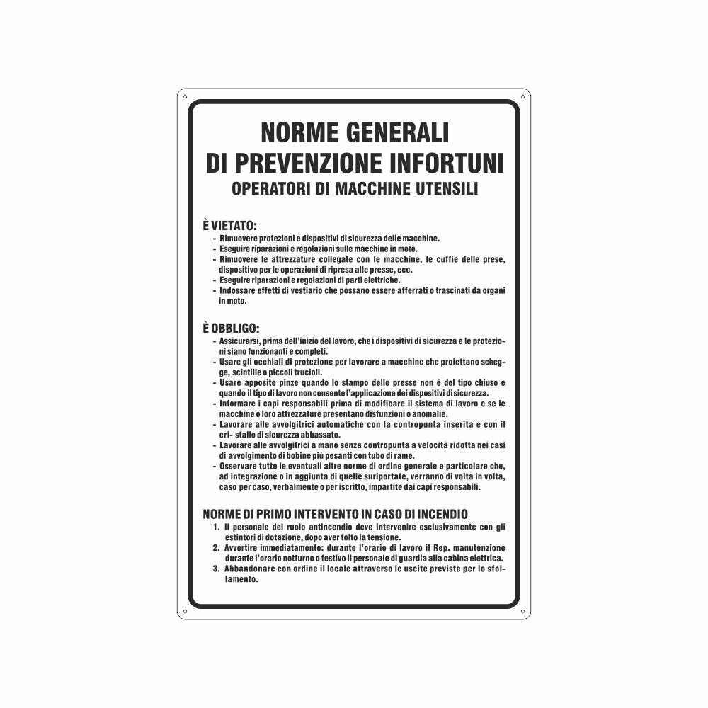 Cartello Norme generali prevenzione infortuni operatori macchine utensili
