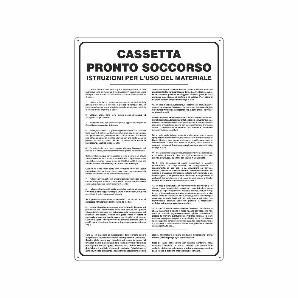 Cartello Norme di sicurezza uso della cassetta di pronto soccorso