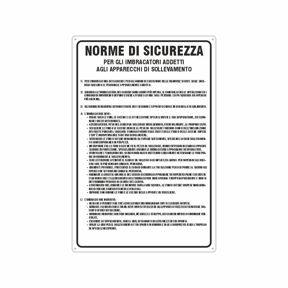 Cartello Norme di sicurezza per gli imbracatori addetti agli apparecchi di sollevamento
