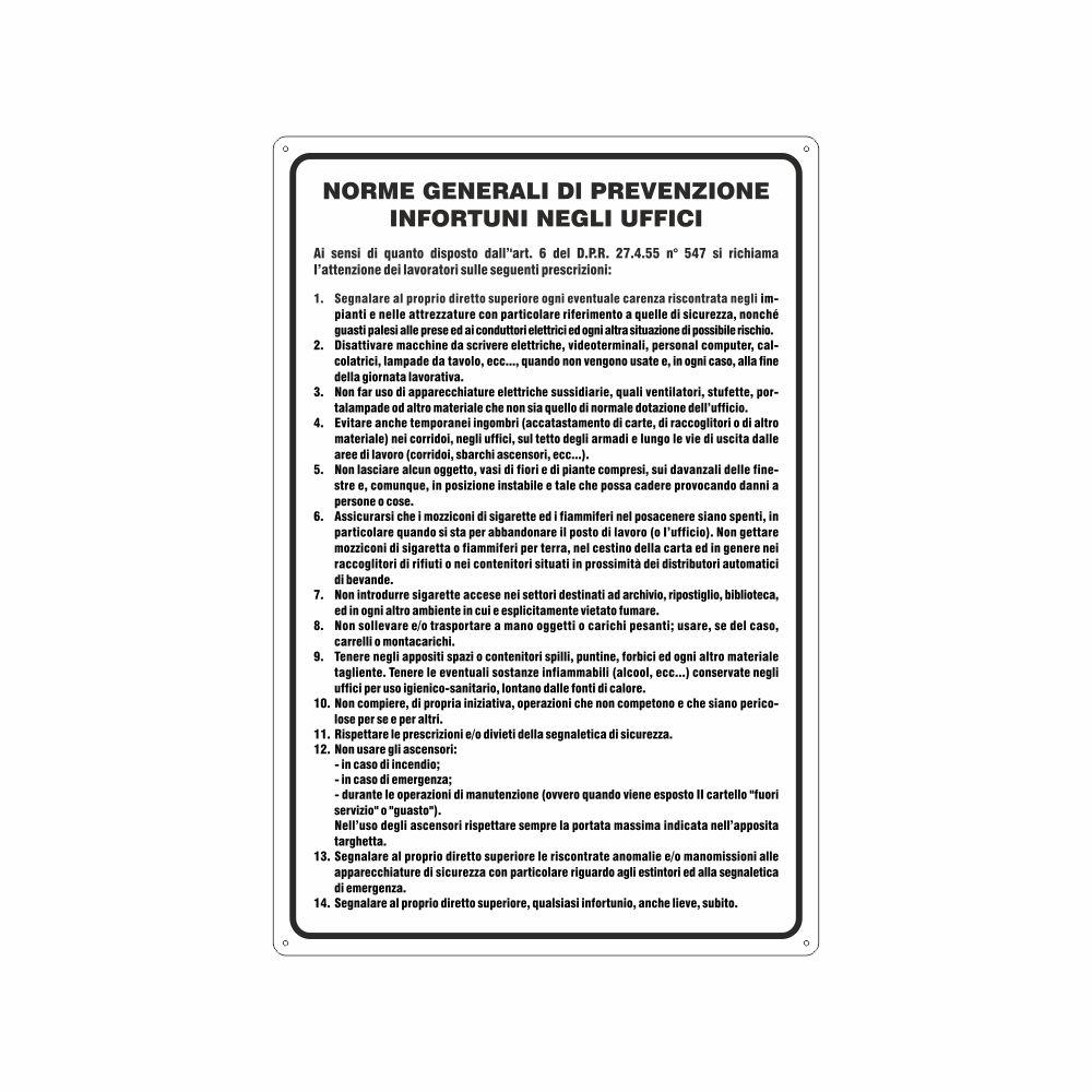 Cartello Norme generali prevenzione infortuni negli uffici