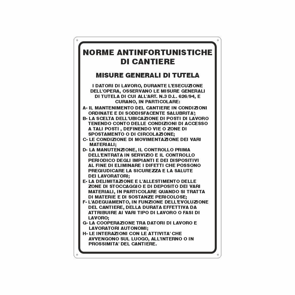Cartello Norme antinfortunistiche di cantiere