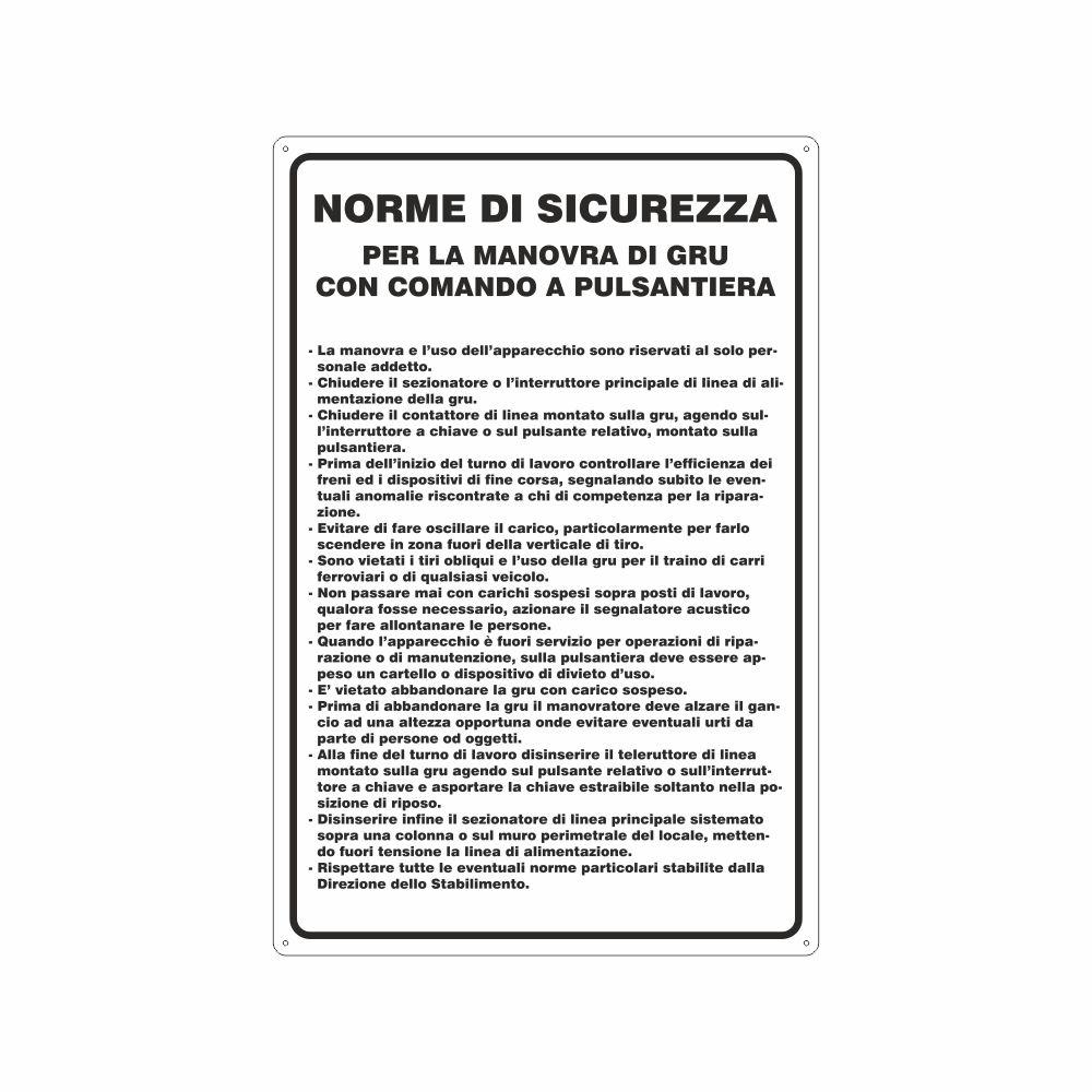 Cartello norme di sicurezza per la manovra di gru con comando a pulsantiera