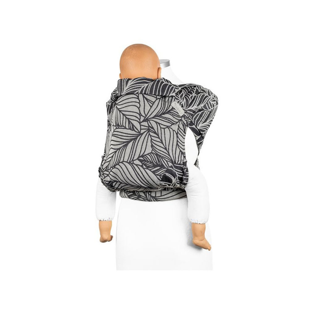 Fly Tai Toddler - Mei Tai Dancing Leaves Black And White