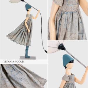 Lampada Skitso in legno con abiti inamidati Little Girl Titania Gold