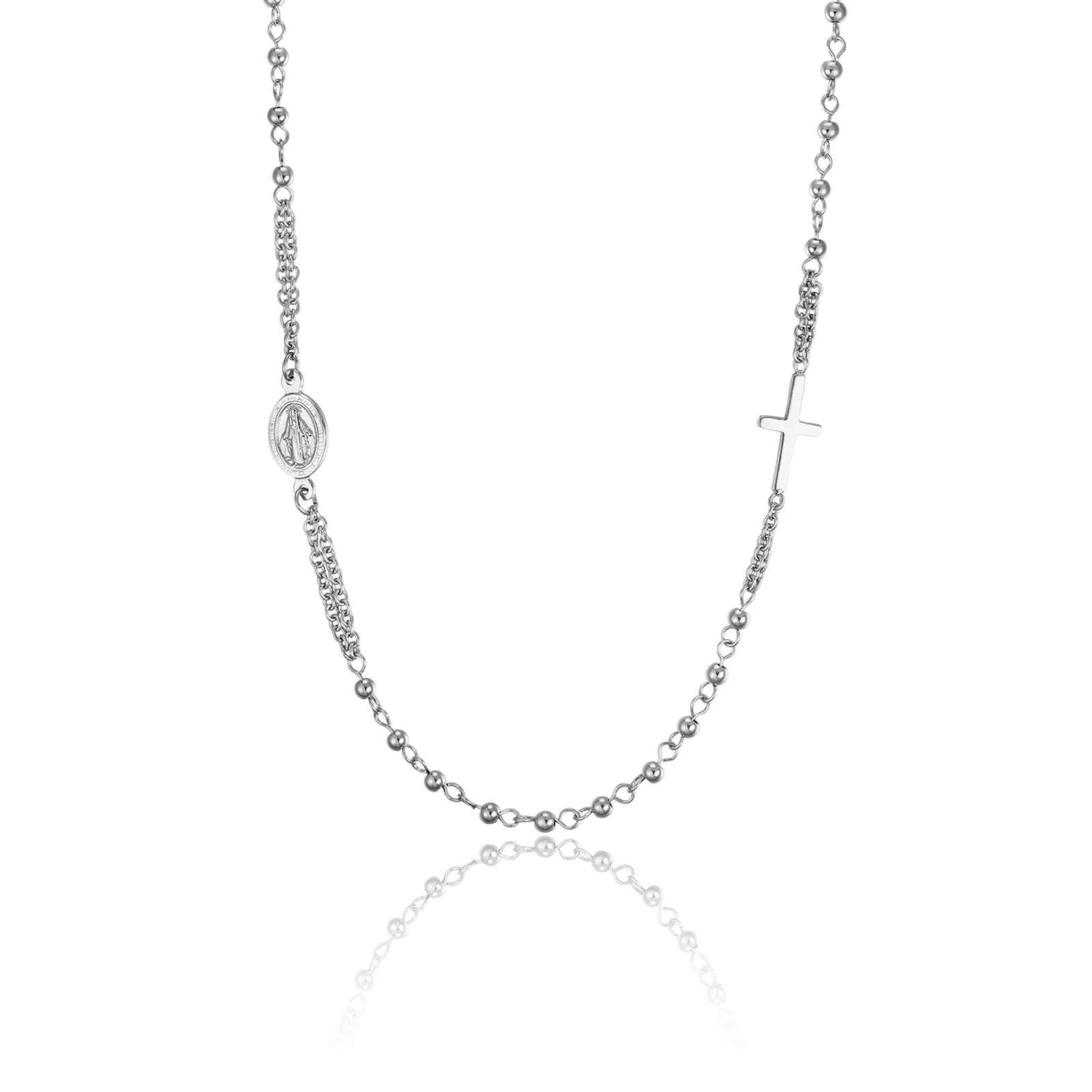 Luca Barra - Collana rosario in acciaio con sfere