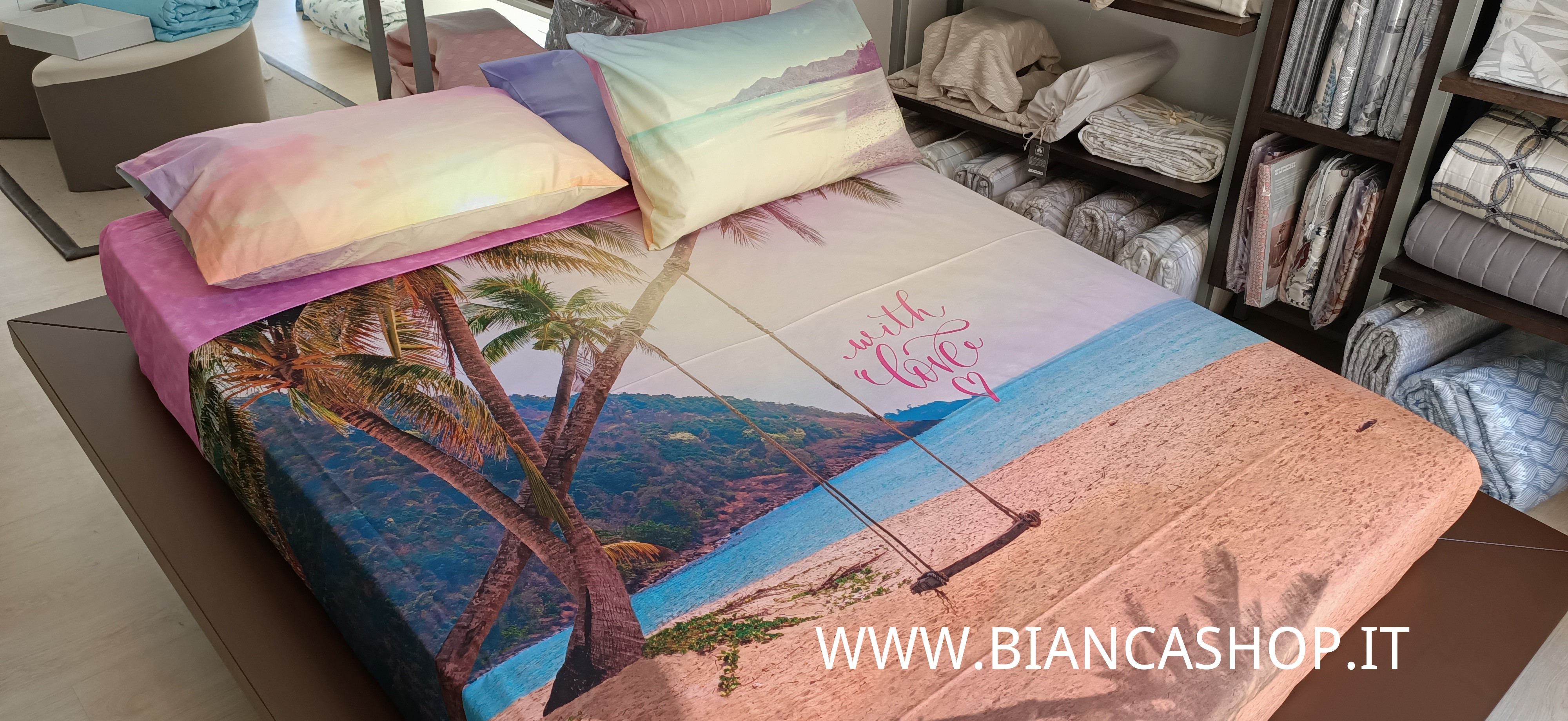Completo Lenzuola Bassetti Whit Love 100 Cotone Made In Italy Letto Bianca Shop