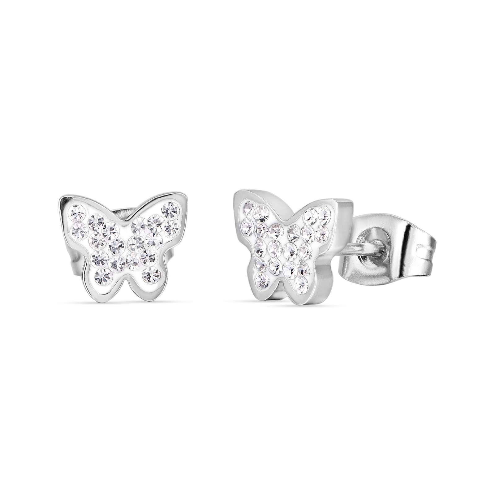 Luca Barra - Orecchini in acciaio con farfalla e cristalli