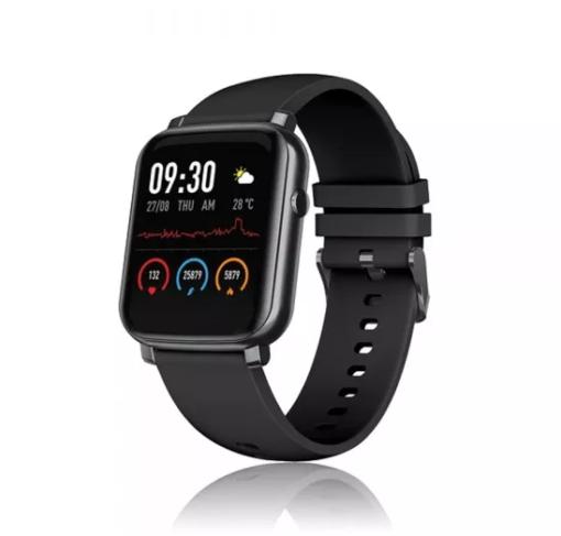 David Lian - Smartwatch con cinturino silicone nero e cassa nera