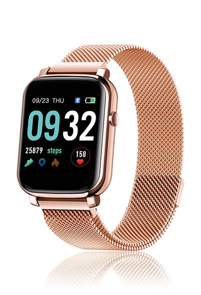 David Lian - Smartwatch con cinturino in acciaio rosè e cassa acciaio rosè