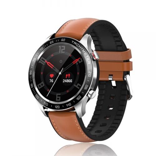 David Lian - Smartwatch con cinturino in similpelle marrone e cassa acciaio