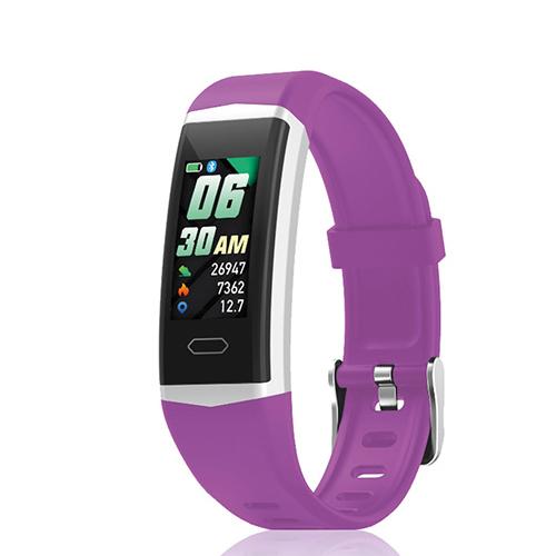 David Lian - Smartwatch con cinturino in silicone viola e cassa acciaio