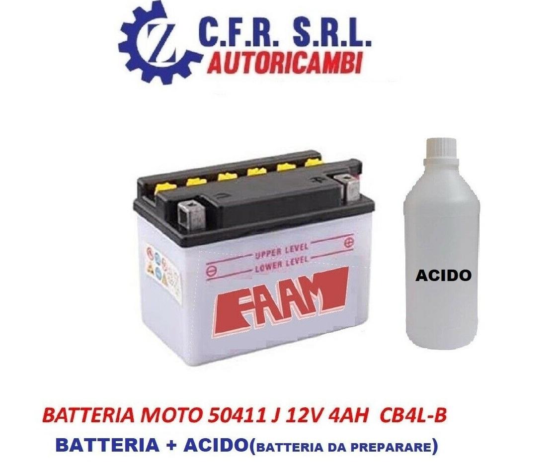 BATTERIA MOTO SCOOTER QUAD 4AH 12V CB4L-B FAAM+ACIDO