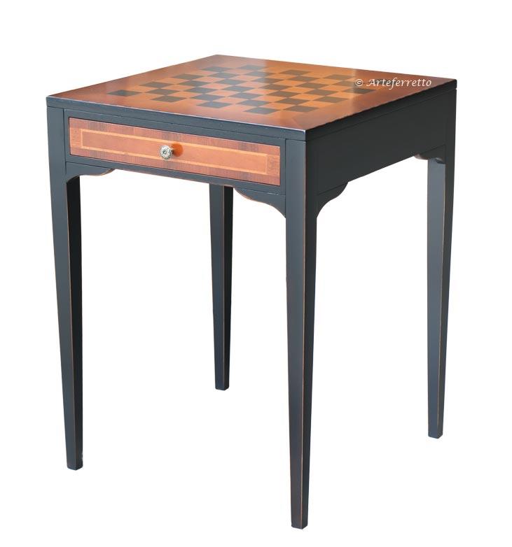 Tavolino intarsio scacchiera bicolore