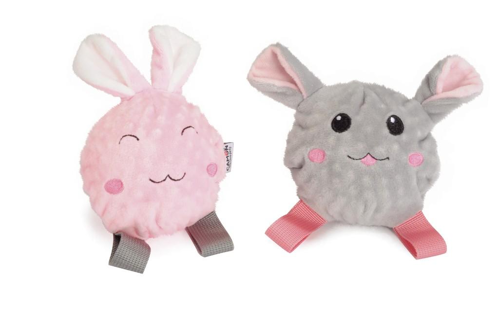 Giochi coniglio e topo in peluche e TPR con squeaker per cani Camon