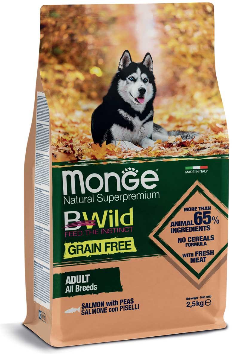 MONGE BWILD Grain Free – Salmone con Piselli – All Breeds Adult