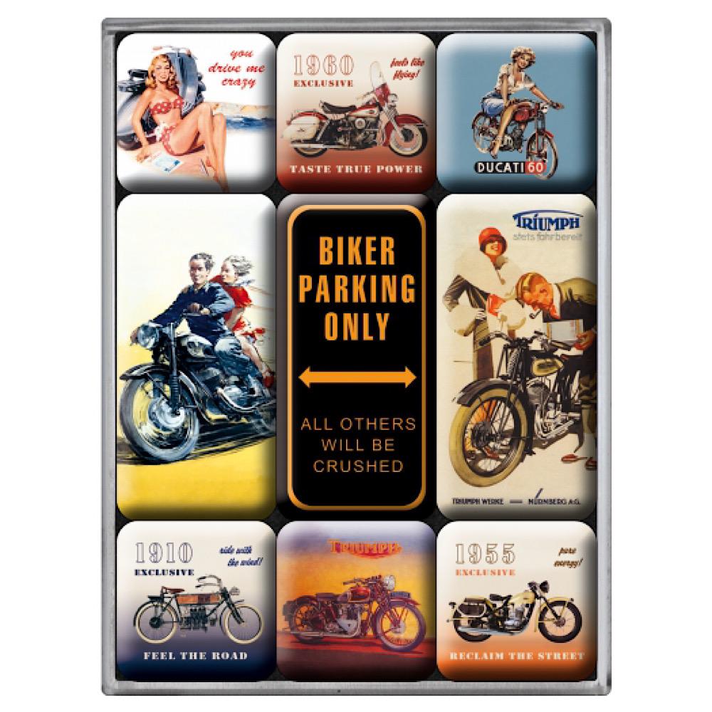 Set 9 magneti Biker Parking Only