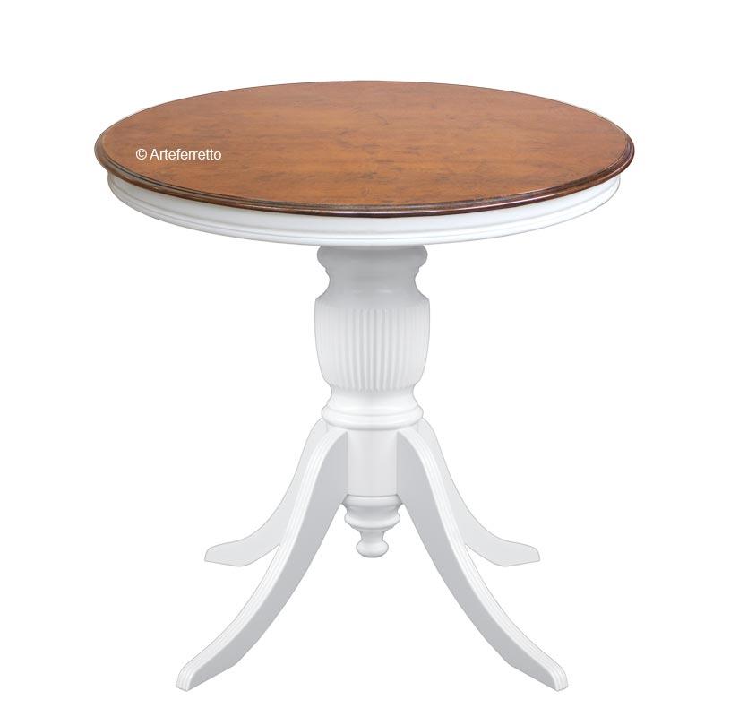 Table ronde bicolore plateau fixe Ø80 cm