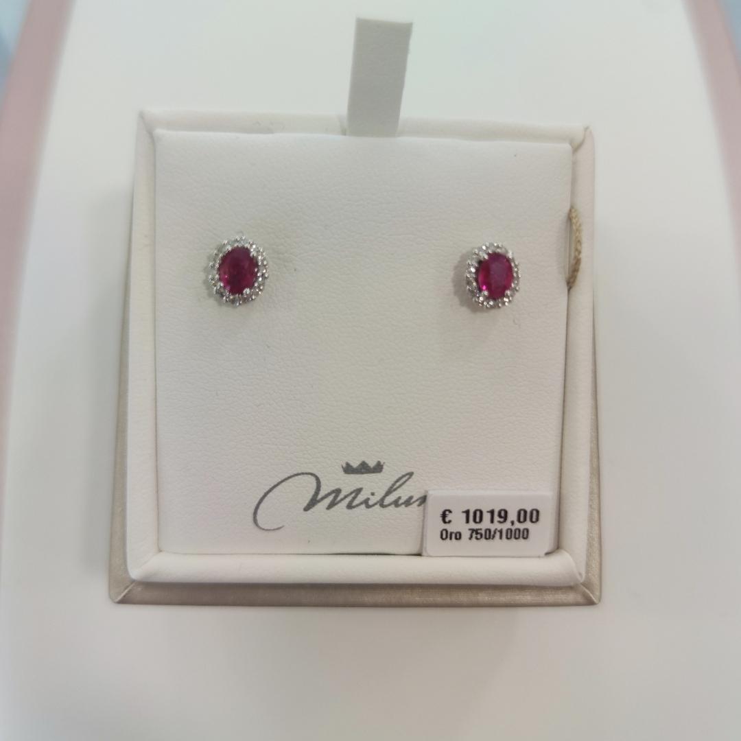 Orecchini Miluna rubino e diamanti
