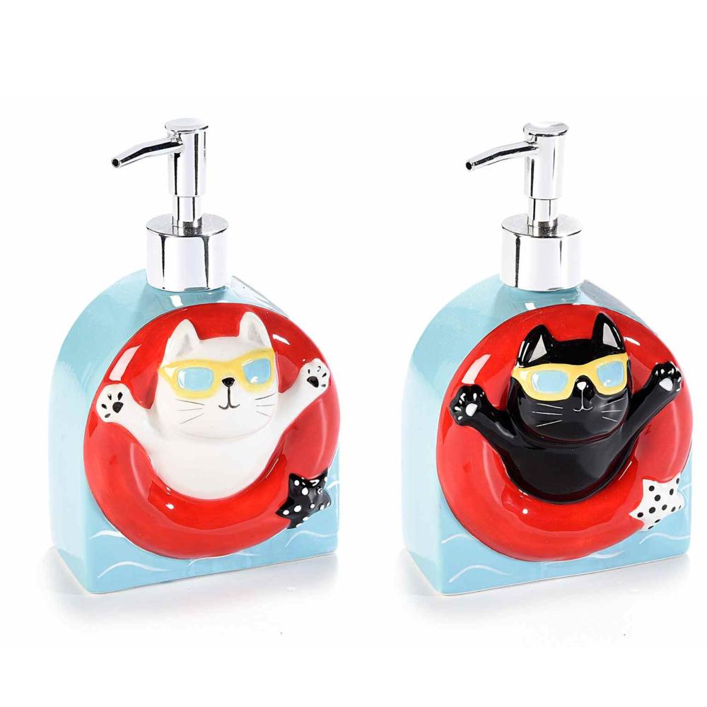 Dispenser per sapone a gatto in ceramica