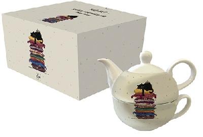 Teiera con tazza gatti sul cuscino (theg01a01)