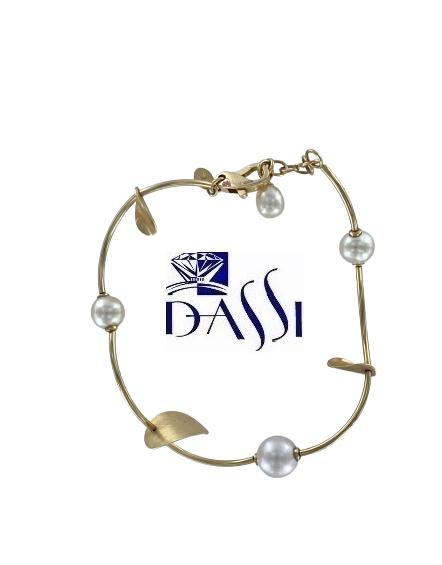 Elegante bracciale semirigido in oro giallo 18kt e perle