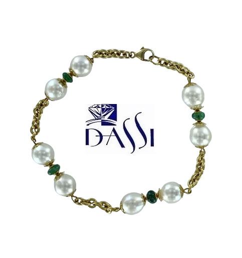 Bracciale in oro giallo 18kt con smeraldi e perle