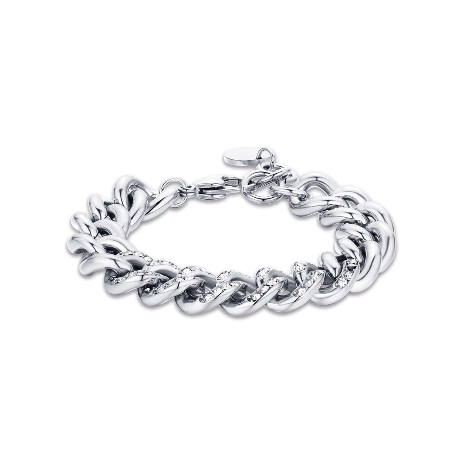 Luca Barra - Bracciale in acciaio con cristalli bianchi