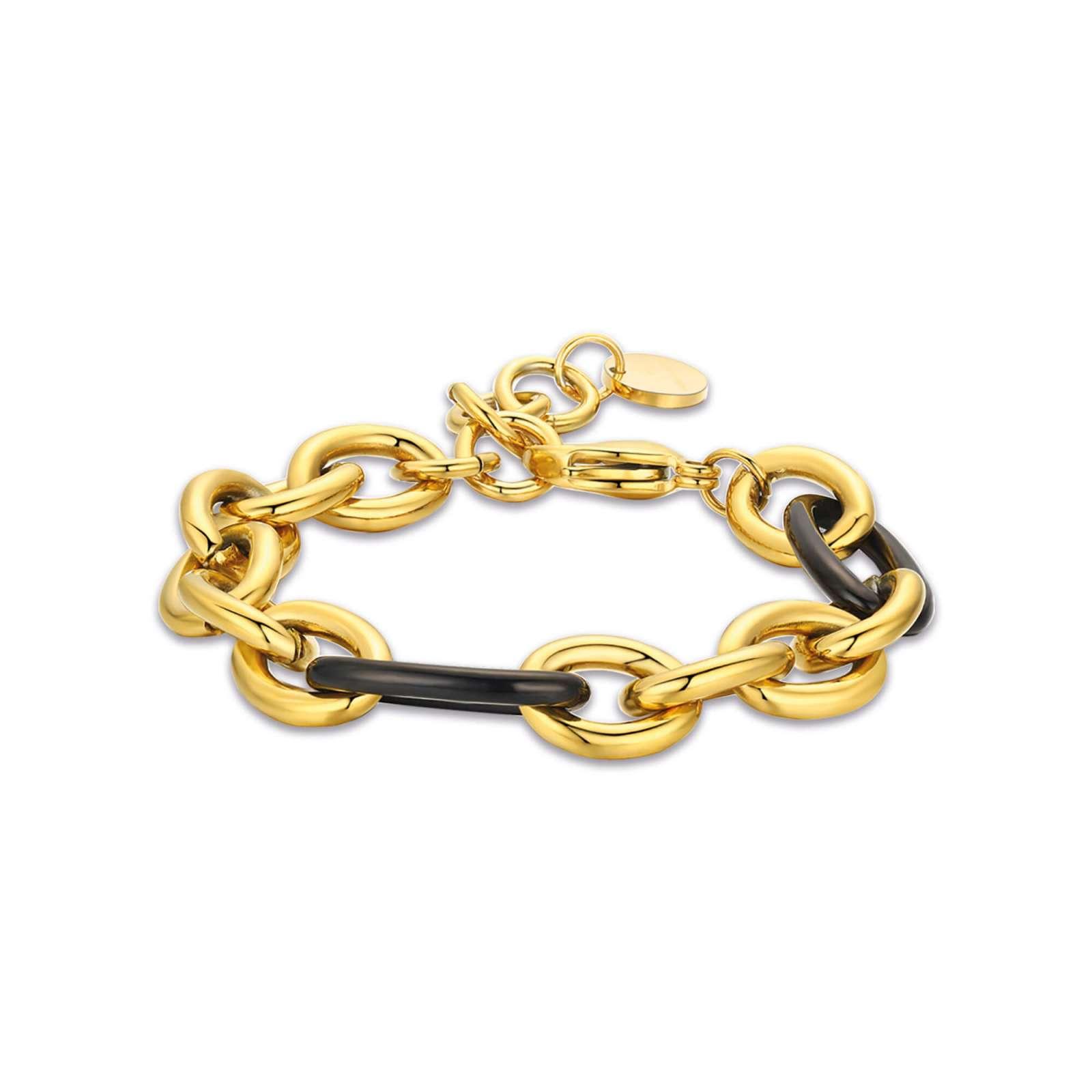 Luca Barra - Bracciale in acciaio dorato e acciaio nero