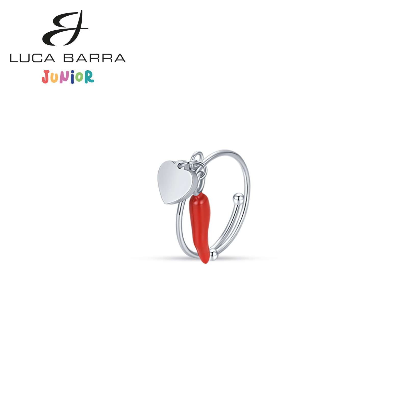 Luca Barra - Anello in acciaio con corno rosso e cuore