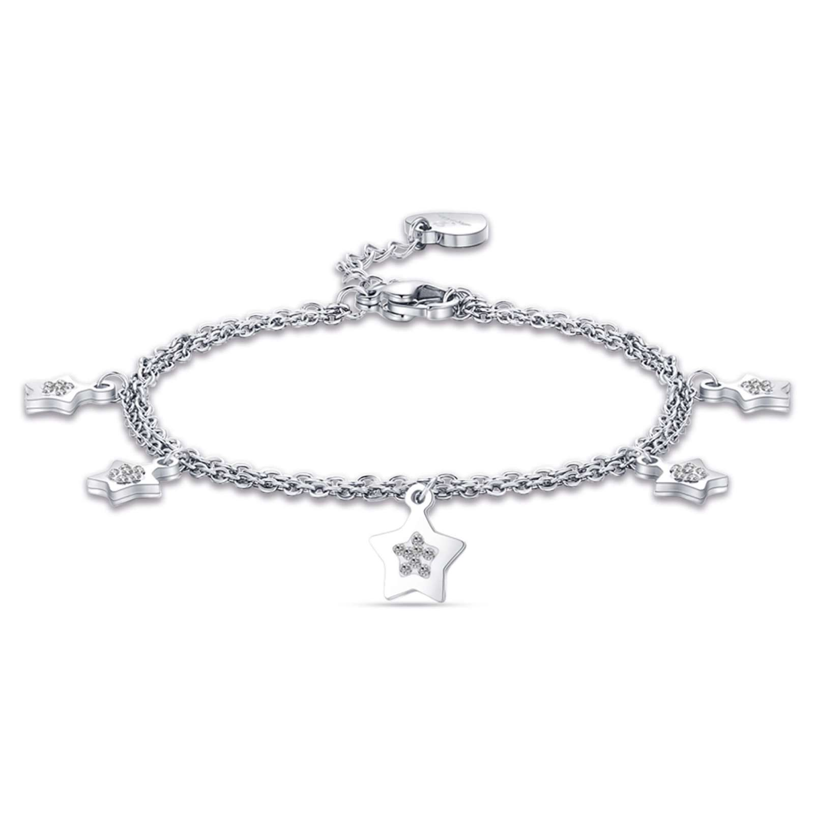 Luca Barra - Bracciale in acciaio con stelle e cristalli bianchi