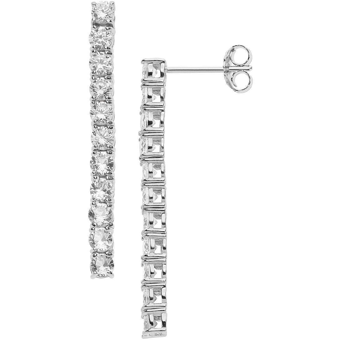 Comete farfalle orecchini tennis donna pendenti in argento con zirconi bianchi ORA139