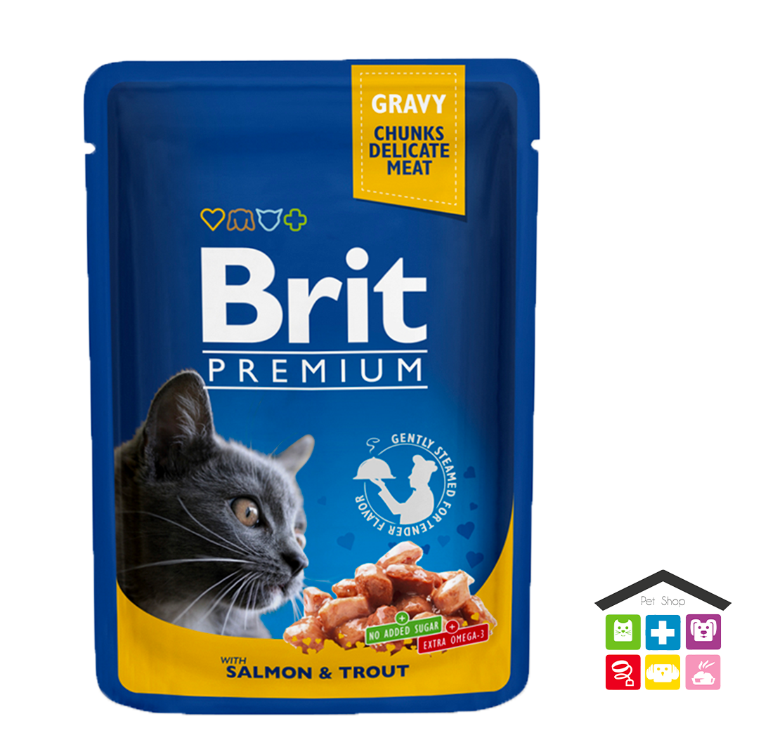 Brit Premium Cat Pouch con Salmone e Trota 0,100g