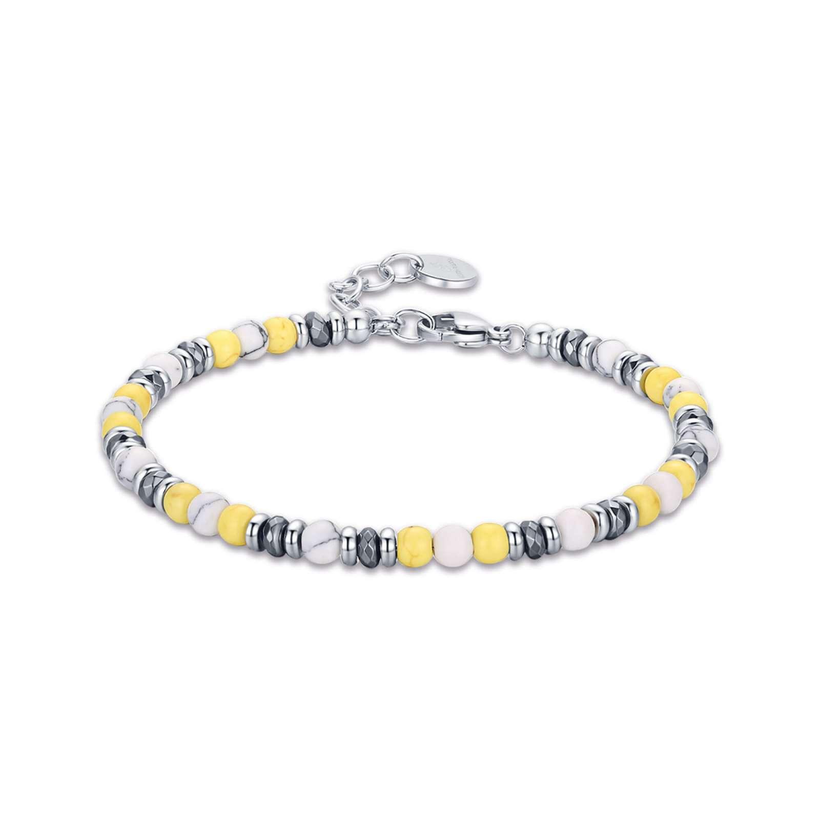 Luca Barra - Bracciale in acciaio con pietre gialle e bianche.