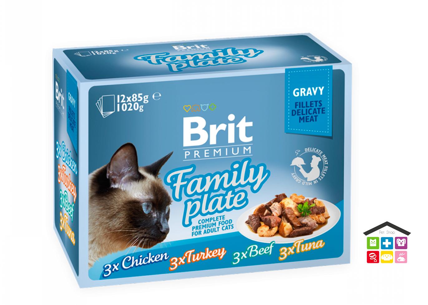 Brit Premium Cat Pouch Family Plate Gravy 12x 0,100g