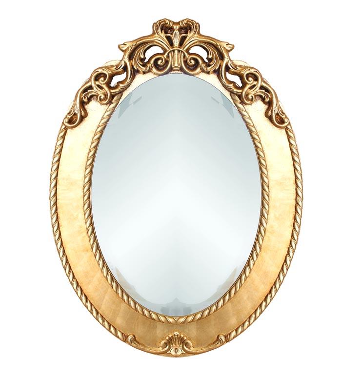 Ovaler Spiegel - Blattgold oder Blattsilber