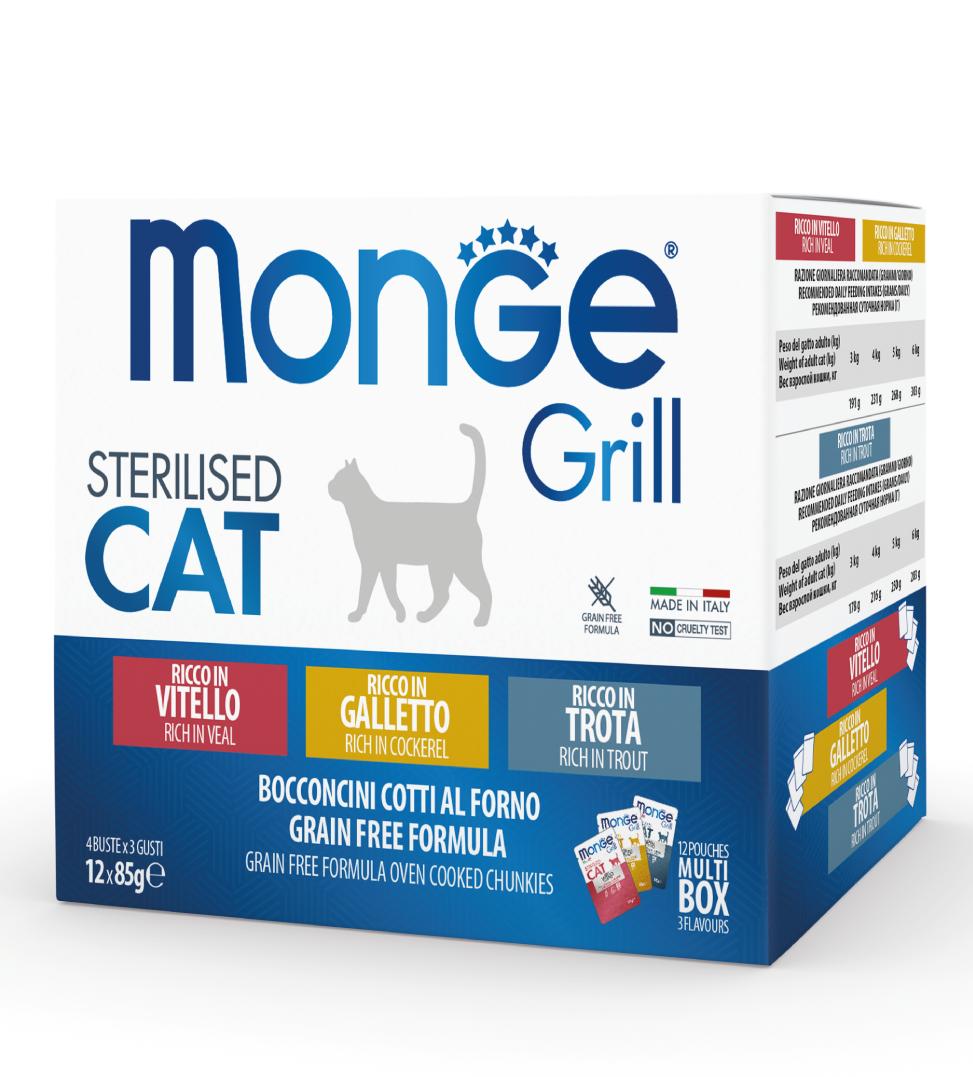 Monge Cat - Grill - Multibox - Sterilizzato - 3 x 12 buste da 85g