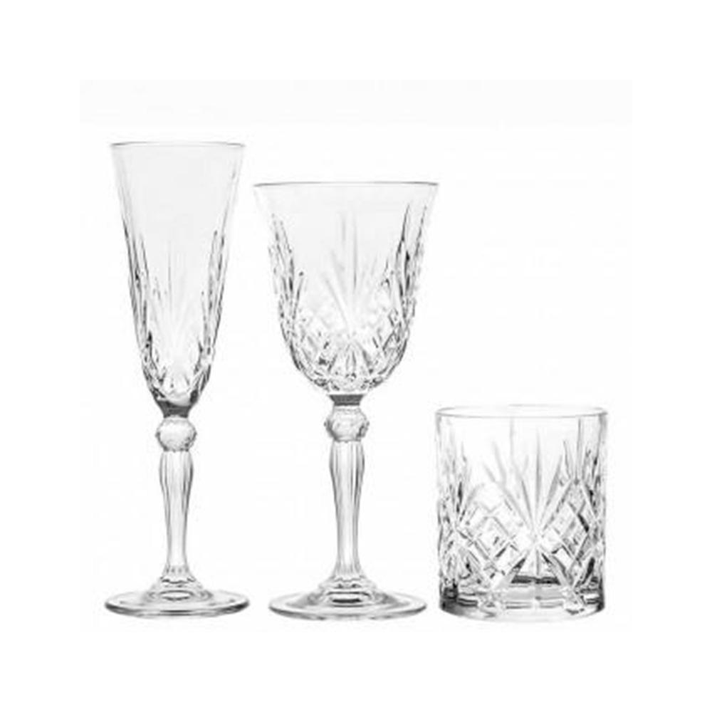Rcr Melodia Set di 18 Bicchieri Decorati con Striature Cristalleria Italiana Trasparente Cucina Casa