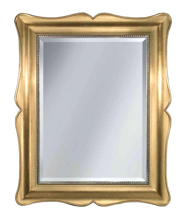 Miroir classique rectangulaire en feuille d'or