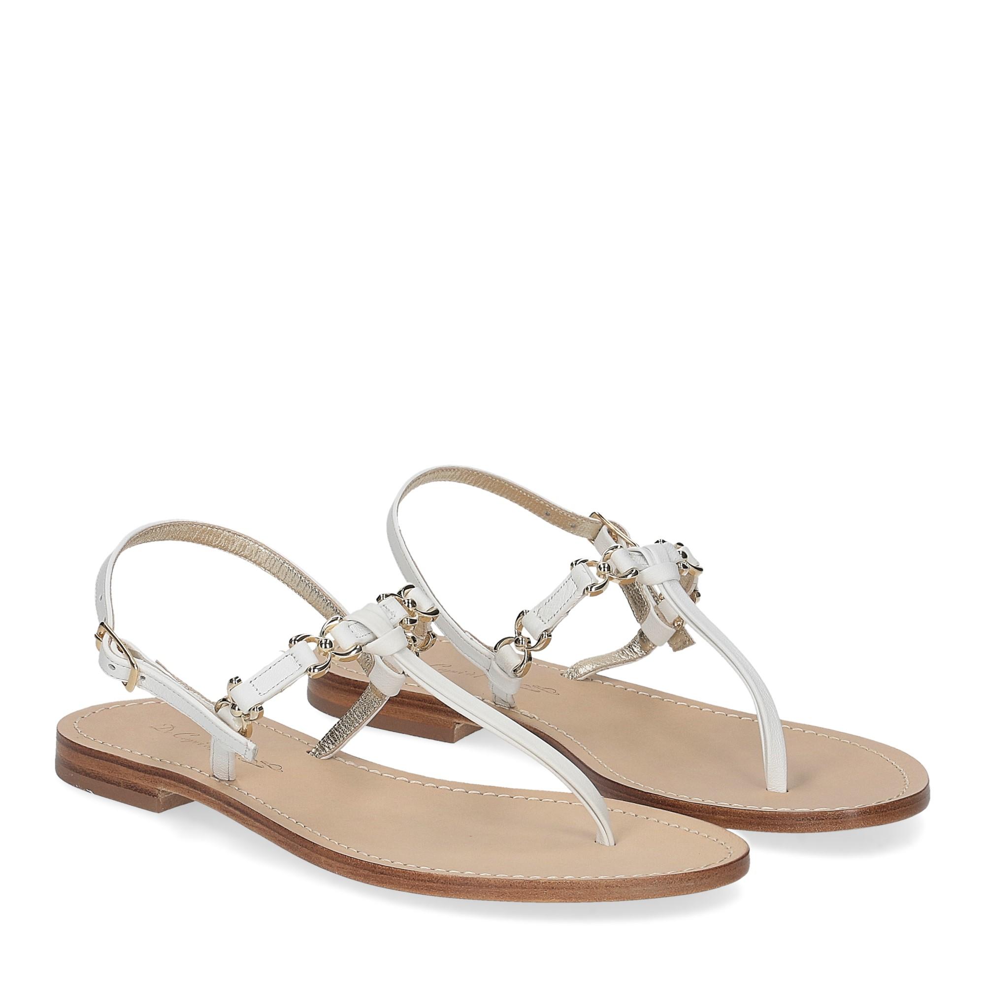De Capri a Paris sandalo infradito nodino pelle bianca