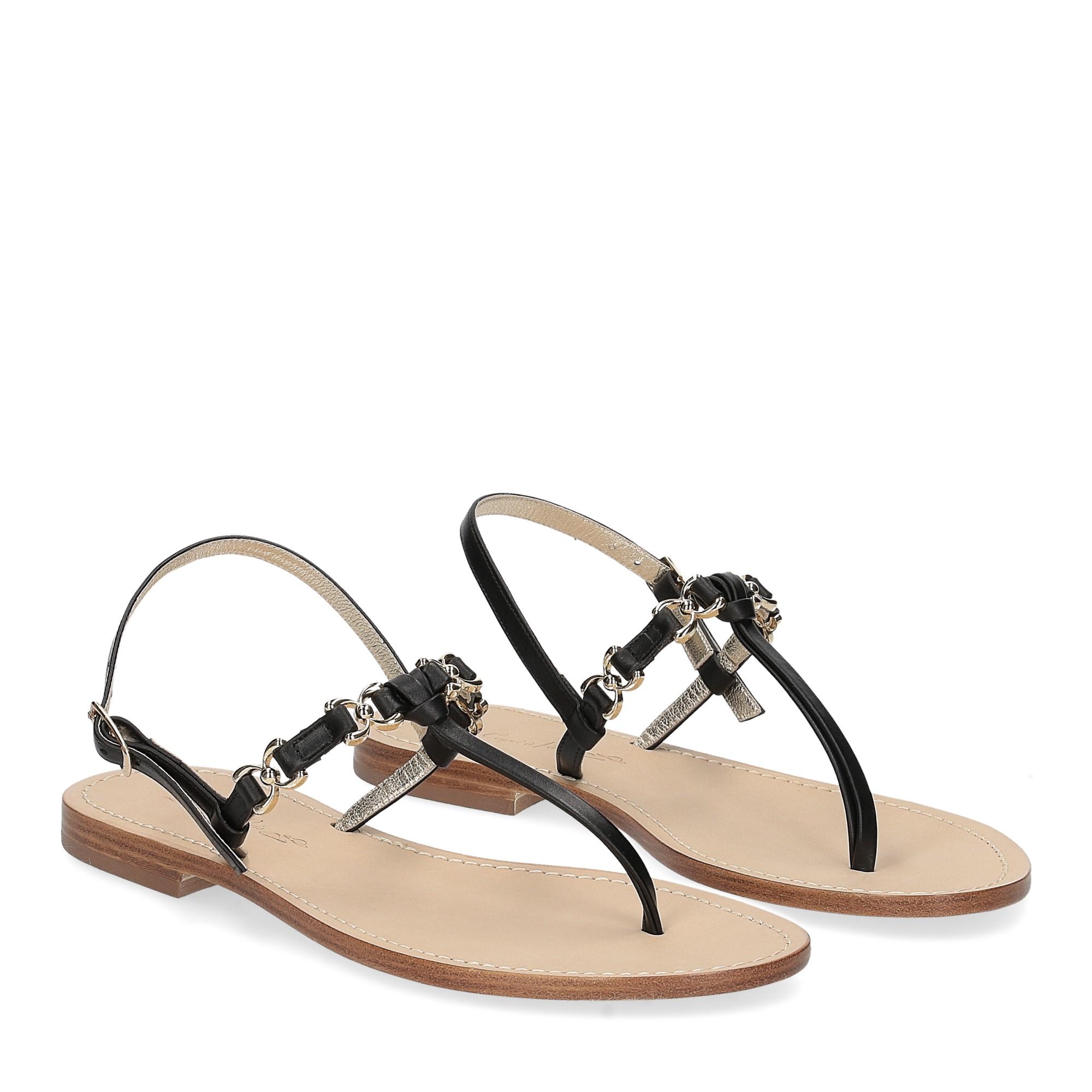 De Capri a Paris sandalo infradito nodino pelle nera