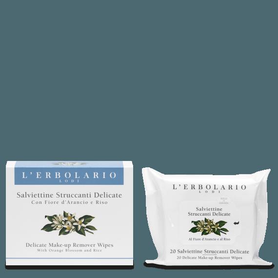 Salviettine Struccanti Delicate con Fiore d'Arancio e Riso 20 salviettine