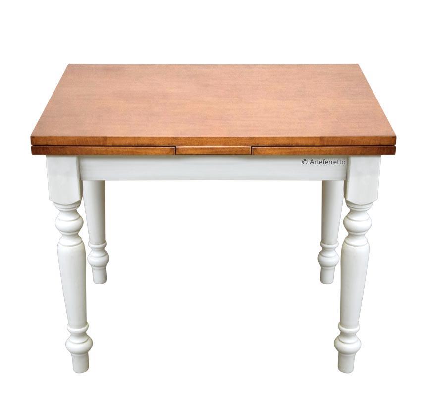 Two tone extendable rectangular table 100 x 70 cm