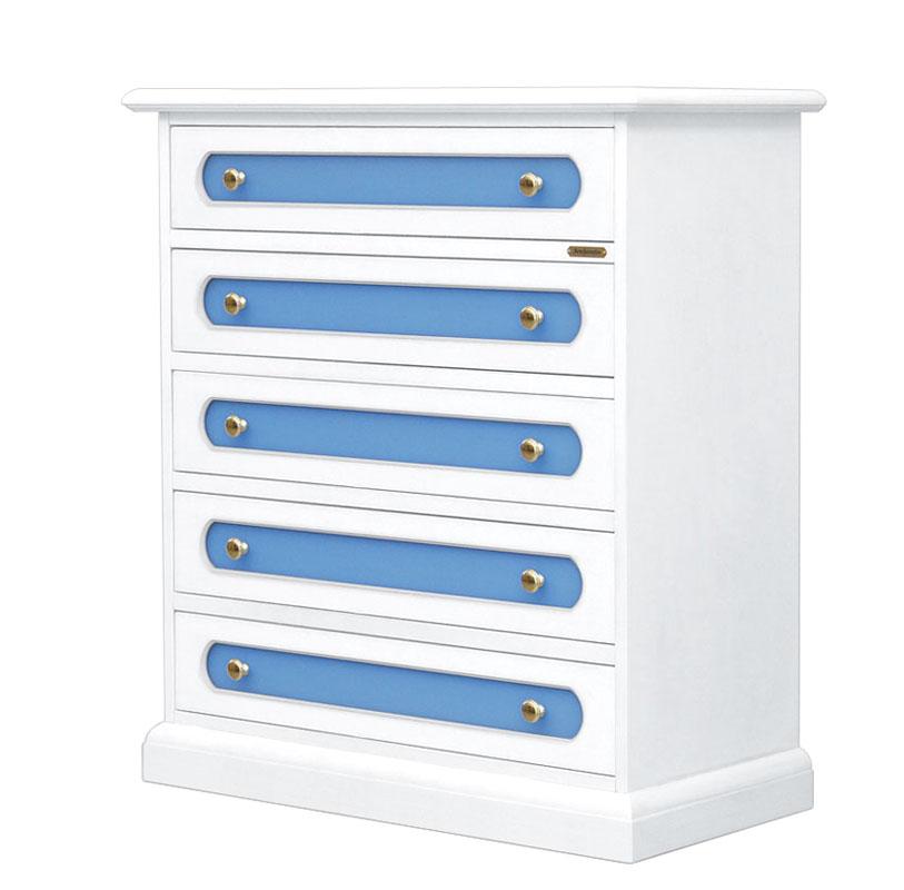 Commode 5 tiroirs avec plexiglass bleu