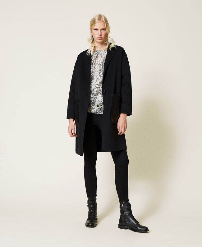 SHOPPING ON LINE TWINSET MILANO CAPPOTTO IN PANNO DOUBLE CON TASCHE A CONTRASTO PREVIEW FALL WINTER 2022