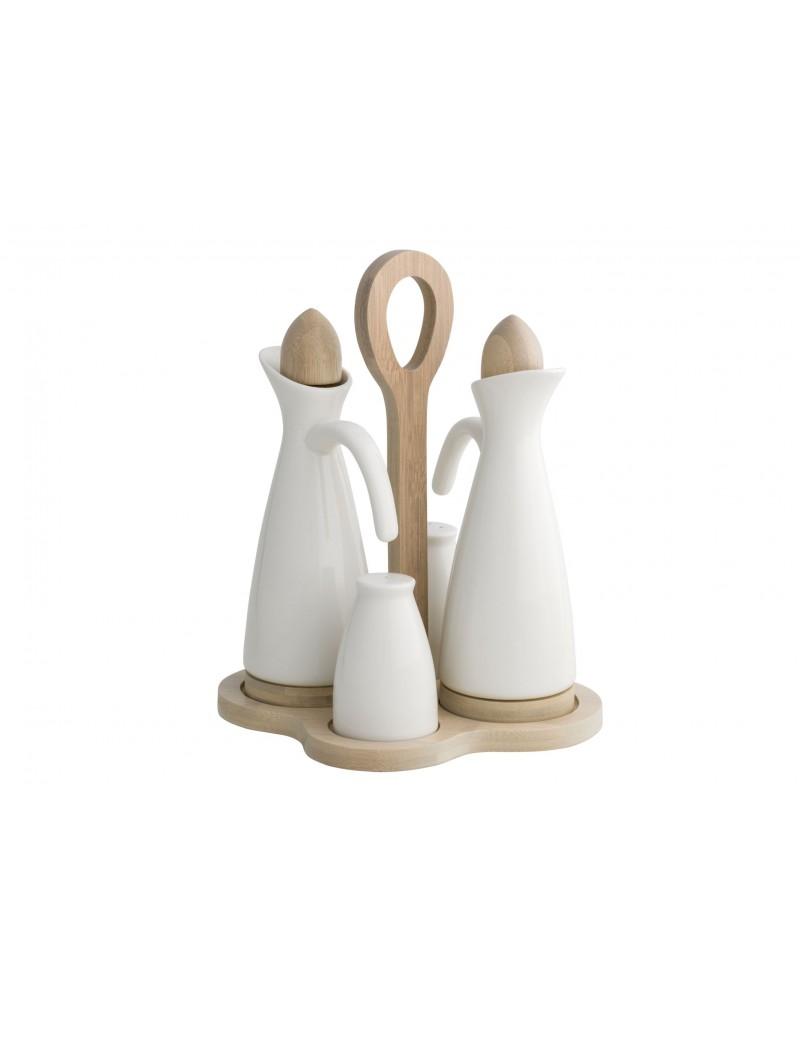 Oliera da tavola in porcellana e legno